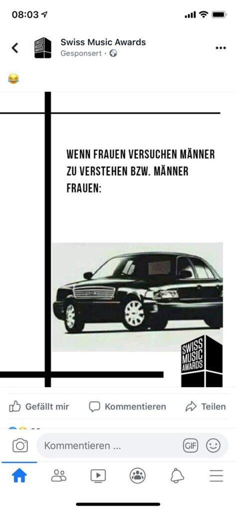 Screenshot des sexistischen Memes der Swiss Music Awards